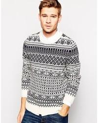 weißer Pullover mit einem Rundhalsausschnitt mit Fair Isle-Muster