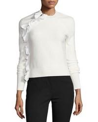 weißer Pullover mit einem Rundhalsausschnitt mit Rüschen