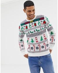 weißer Pullover mit einem Rundhalsausschnitt mit Weihnachten Muster