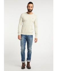 weißer Pullover mit einem Rundhalsausschnitt von Dreimaster