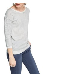 weißer Pullover mit einem Rundhalsausschnitt von Esprit