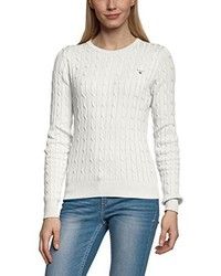 weißer Pullover mit einem Rundhalsausschnitt von GANT