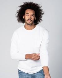 weißer Pullover mit einem Rundhalsausschnitt von Key Largo