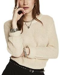 weißer Pullover mit einem Rundhalsausschnitt von Maison Scotch