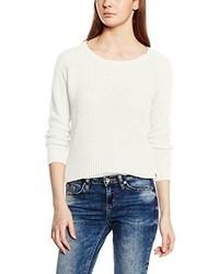 weißer Pullover mit einem Rundhalsausschnitt von Only