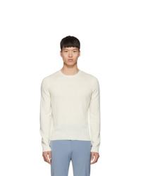 weißer Pullover mit einem Rundhalsausschnitt von Prada