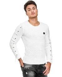 weißer Pullover mit einem Rundhalsausschnitt von Redbridge