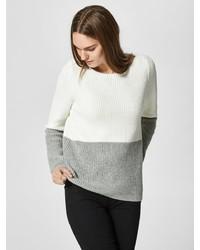 weißer Pullover mit einem Rundhalsausschnitt von Selected Femme