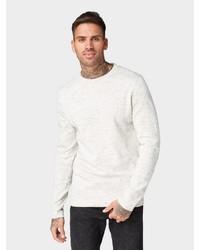 weißer Pullover mit einem Rundhalsausschnitt von Tom Tailor Denim