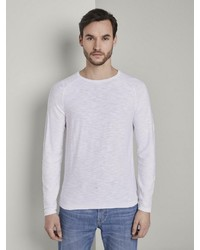 weißer Pullover mit einem Rundhalsausschnitt von Tom Tailor