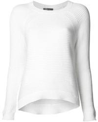 weißer Pullover mit einem Rundhalsausschnitt von Vince