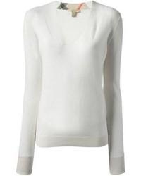 weißer Pullover mit einem V-Ausschnitt von Burberry