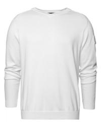 weißer Pullover mit einem V-Ausschnitt von CODE-ZERO