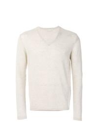 weißer Pullover mit einem V-Ausschnitt von Etro