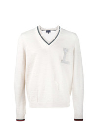 weißer Pullover mit einem V-Ausschnitt von Lanvin