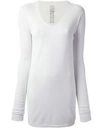weißer Pullover mit einem V-Ausschnitt von Rick Owens