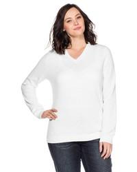 weißer Pullover mit einem V-Ausschnitt von SHEEGO BASIC