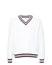 weißer Pullover mit einem V-Ausschnitt von Thom Browne
