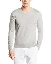 weißer Pullover mit einem V-Ausschnitt von Tom Tailor