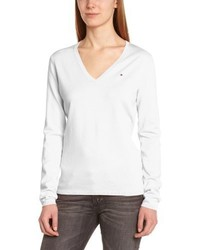 weißer Pullover mit einem V-Ausschnitt von Tommy Hilfiger