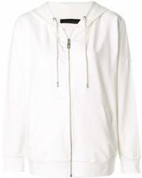 weißer Pullover mit einer Kapuze von Frankie Morello