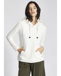 weißer Pullover mit einer Kapuze von khujo