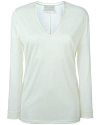 weißer Pullover mit einem V-Ausschnitt von Forte Forte