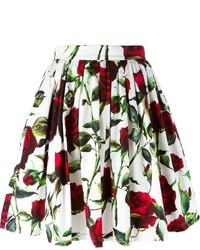 weißer Skaterrock mit Blumenmuster von Dolce & Gabbana