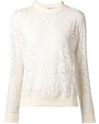 weißer Spitze Pullover mit einem Rundhalsausschnitt