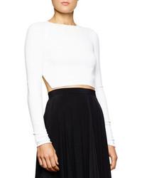 weißer Strick kurzer Pullover