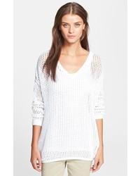 weißer Strick Oversize Pullover