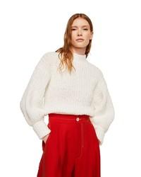 weißer Strick Oversize Pullover von Mango