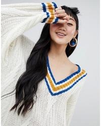 weißer Strick Oversize Pullover von Monki