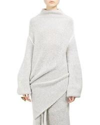 weißer Strick Wollrollkragenpullover