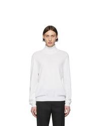 weißer Strick Wollrollkragenpullover von Maison Margiela