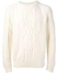 weißer Strickpullover von Alexander McQueen