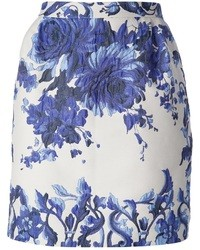 weißer und blauer Bleistiftrock mit Blumenmuster von Valentino