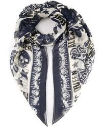 weißer und dunkelblauer bedruckter Schal von Alexander McQueen