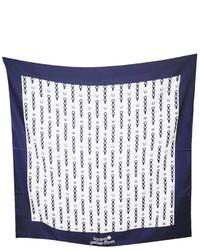 weißer und dunkelblauer bedruckter Schal von Lucien Pellat-Finet