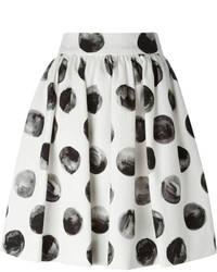 weißer und dunkelblauer gepunkteter Skaterrock von Dolce & Gabbana