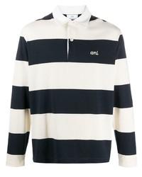 weißer und dunkelblauer horizontal gestreifter Polo Pullover von Ami Paris