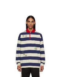 weißer und dunkelblauer horizontal gestreifter Polo Pullover von Gucci