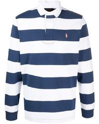 weißer und dunkelblauer horizontal gestreifter Polo Pullover von Polo Ralph Lauren