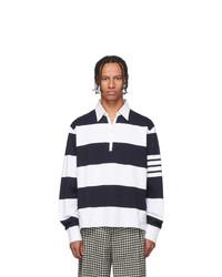 weißer und dunkelblauer horizontal gestreifter Polo Pullover von Thom Browne