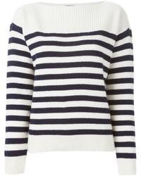 weißer und dunkelblauer horizontal gestreifter Pullover mit einem Rundhalsausschnitt