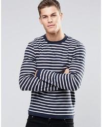 weißer und dunkelblauer horizontal gestreifter Pullover mit einem Rundhalsausschnitt von Esprit