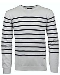 weißer und dunkelblauer horizontal gestreifter Pullover mit einem Rundhalsausschnitt von RAGMAN