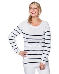 weißer und dunkelblauer horizontal gestreifter Pullover mit einem Rundhalsausschnitt von SHEEGO CASUAL
