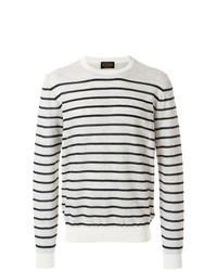 weißer und dunkelblauer horizontal gestreifter Pullover mit einem Rundhalsausschnitt von Tod's