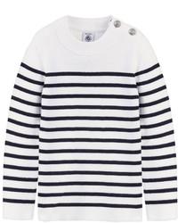 Weißer und dunkelblauer horizontal gestreifter Pullover